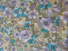 Vintage Cotton Fabric Remnant - Floral - Mauve, Blue, Yellow Green - 114cm
