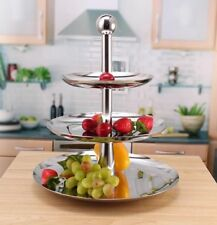 Fruit Basket Bowl 3 Tier Vegetable Rack Stainless Steel ball Stand Holder New
