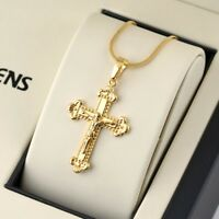 "Jesus Cross Pendant Necklace 18K Yellow Gold Filled Lucky Chain 18""Link Jewelry"