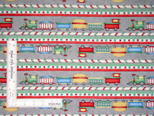 Christmas Toy Train Stripe Gray Cotton Fabric Wilmington Holiday Express - Yard
