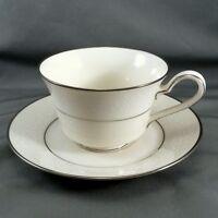 Noritake Ivory Marseille Tea Cup and Saucer Set White Scrolls Platinum Trim 8 oz