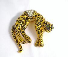 Vintage Florenza Leopard Cheetah Cat  Moving Tail Pin Brooch~circa 1956-1981
