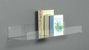 """24"""" Flat Acrylic Shelf for Wall Mounting, Clear"""