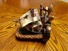 Nautical Sailboat Clipper Ship Wood Bookend Steering Wheel