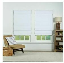 Perfect Lift White Cordless Blackout Cotton Roman Shades 31 in. W x 72 in. L