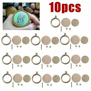 10pcs Mini Embroidery Hoop Ring Wooden Cross Stitch Frame Hand Crafts Tool