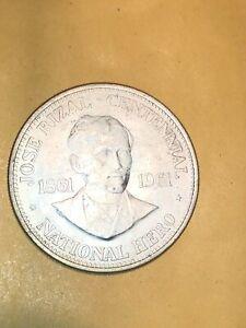 PHILIPPINES 1961 1 Peso Jose Rizal Silver Crown Coin
