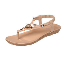 Damen Flach Sandalen T-Riemen Sommerschuhe Zehentrenner Flip Flops Strand Schuhe