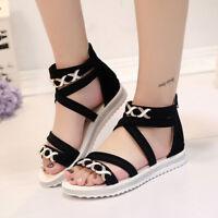 Women Lady Open Toe Ankle Strap Flat Beach Sandals Summer Platform Wedges Shoes