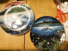 Set 2 Plates - Underwater Paradise - Danbury Mint - Robert Lyn Nelson - 8 inches