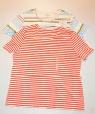 2 Women's Coral Bay Striped Short Sleeve Tops  ( Red & Multi )  NWT !!!