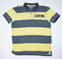 VTG Nautica Jeans Co NJC99 Spell Out Gray Yellow Striped Mens Polo Golf Shirt L
