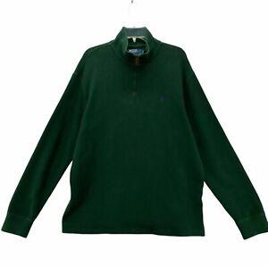 Polo Ralph Lauren Men's Sz XL Extra Large Green Long Sleeve 1/4 zip Sweatshirt