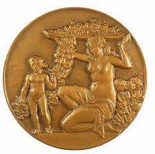 France nude HORTICULTURE By Georges Simon bronze 59mm