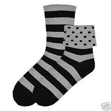 K.Bell Flip Cuff Polka Dot Stripe Gray Black Ladies Womens Crew Socks New