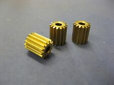 3x Brass 14 tooth pinion gear 3mm I.D.hole 10mm long 9.45mm O.D. 14T gears