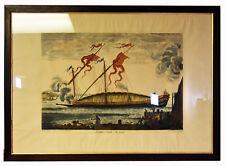"20"" Antique 1800s Hand Colored Engraving La Galere Reale A La Fonde Galeasse"