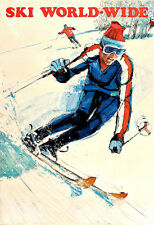 Travel Ski Worldwide Holiday Vacation Skiing Winter Poster Print