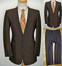 40L 2pc Brown Sharkskin Mens Quality Fashion Shiny Luxury Gatsby MOD Classy Suit