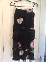 Whistles London Dress 1920's Gatsby Flapper Style Floral Size 8 100% Silk Sequin