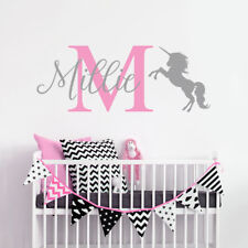 Personalised Wall Decals Sticker Children Bedroom Unicorn Nursery Kids Girl