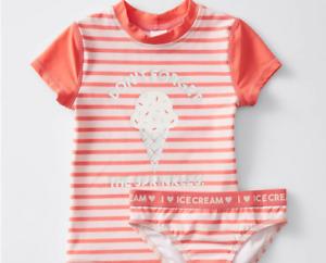 Girls size 7 Short Sleeve Rash top & brief set 2 piece bathers ICE-CREAM NEW