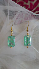 Plaqué or turquoise Czech glass Dangle Earrings