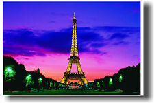 Eiffel Tower PARIS Pink Sunset France Print POSTER