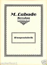 Waagenfabrik Labude Breslau XL Reklame 1923 Waage scale ad Werbung