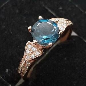 1.10ctw London Blue Topaz & Diamond Cut White Sapphire 14K Rose Gold 925 Ring