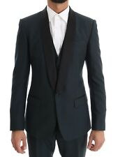 NEW $2600 DOLCE & GABBANA Suit Tuxedo Blue MARTINI Wool Silk 3 Piece EU44 / US34