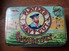 "Vintage Cigarette / Tobacco Metal Tin branded ""Players Navy Cut Gold Leaf """