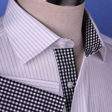 Black Hairline Stripe Formal Business Dress Shirt Luxury Men's Check Fashion Top