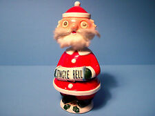 "Vintage 50s 60s Santa Ceramic Bobble Head Nodder Jingle Bell Christmas Figure 9"""