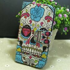 1x Pretty Skull Girl Wallet Card Holder flip case cover for LG Phone