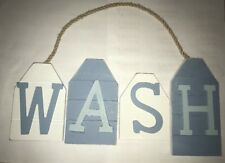 WASH Blue & White Nautical Pirate Boat Theme Hanging Plaque Sand Gift Sign