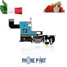 CONNETTORE CARICA IPHONE 6 NERO RICARICA MICROFONO CUFFIE DATI  FLEX FLAT DOCK