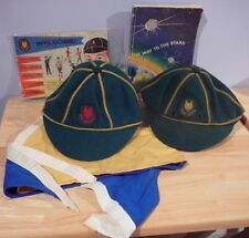 2 Boy Scouts Wolf Cubs Wool Caps,Scarf, Manual & Enrollment Card 1960's