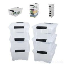 Stackable Pull Storage Plastic Bin Container w/ Lid Set 12 Quart 6 Box Clothing