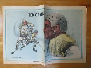RARE 1971 TED GREEN BOSTON GLOBE Newspaper Pin Up Poster BRUINS