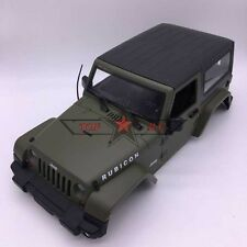 RC 1/10 SCALE ARMY GREEN HARD PLASTIC JK JEEP WRANGLER RUBICON BODY SHELL