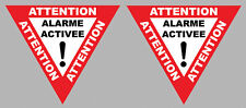 2 X ATTENTION ALARME ACTIVEE MOTO ANTI VOL 6,5cmX5,5cm AUTOCOLLANT STICKER AA155