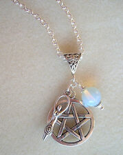 "Pentagram Earth Goddess Opalite Moon Cluster Charm Pagan 22"" Necklace"