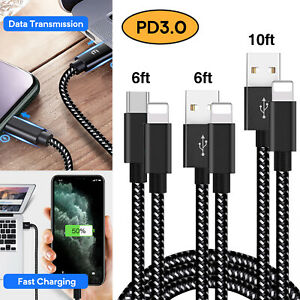 3 Pack USB Charge Cable 2.4A PD3.0 18W Fast charging Cable for Iphone X XS 11 8