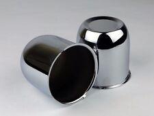 """2 Chrome Steel Wheel Rims Center Caps For 3.25 """" Center Bore"""
