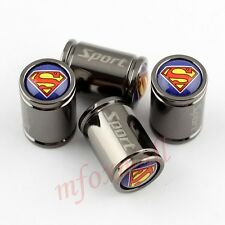4PCS Titanium Style Car Accessories Tire Tyre Valve Caps Cover Superman Emblem