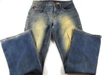 BCBG Max Azria Jeans Size 7/8 Distressed Boot Cut Cotton Classic Rise