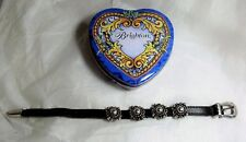 Vintage Brighton Brown Leather Silver Scroll Buckle Bracelet 1994 + Heart Tin
