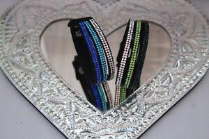 ELEGANT LEATHER Slake  BRACELET Made With SWAROVSKI CRYSTALS Colour Choice