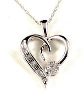 "10K WHITE GOLD 18"" CHAIN NECKLACE .12 CTW ROUND DIAMOND HEART CLUSTER PENDANT"